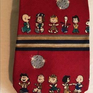Peanuts Disco Silk Tie Snoopy deep red